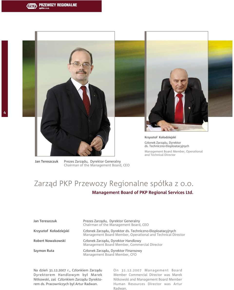 Regionalne spółka z o.o. Management Board of PKP Regional Services Ltd.