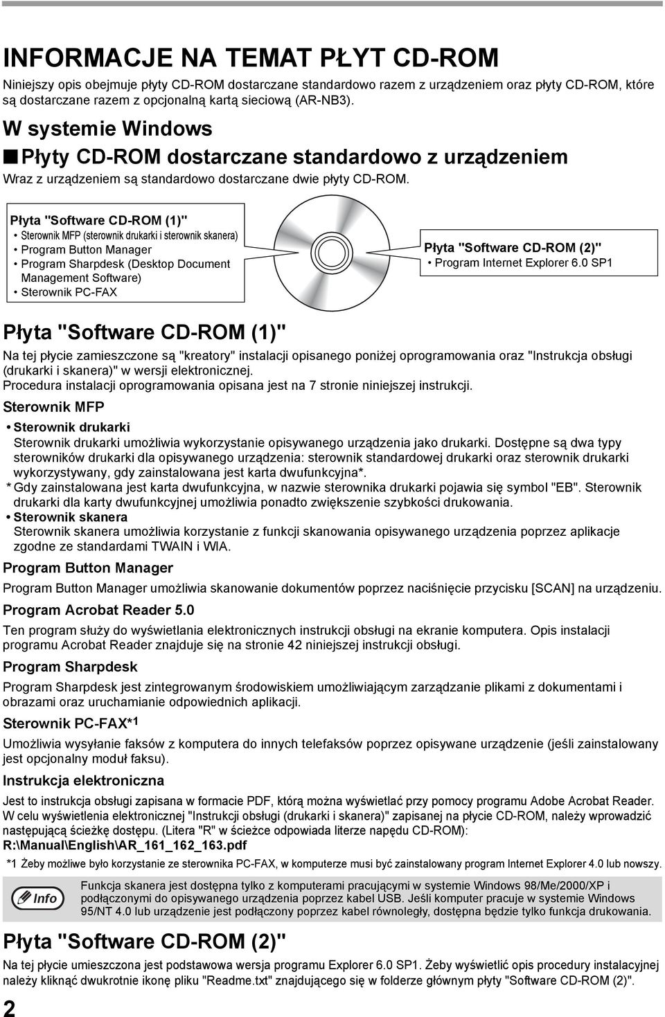 "Płyta ""Software CD-ROM ()"" Sterownik MFP (sterownik drukarki i sterownik skanera) Program Button Manager Program Sharpdesk (Desktop Document Management Software) Sterownik PC-FAX Płyta ""Software"
