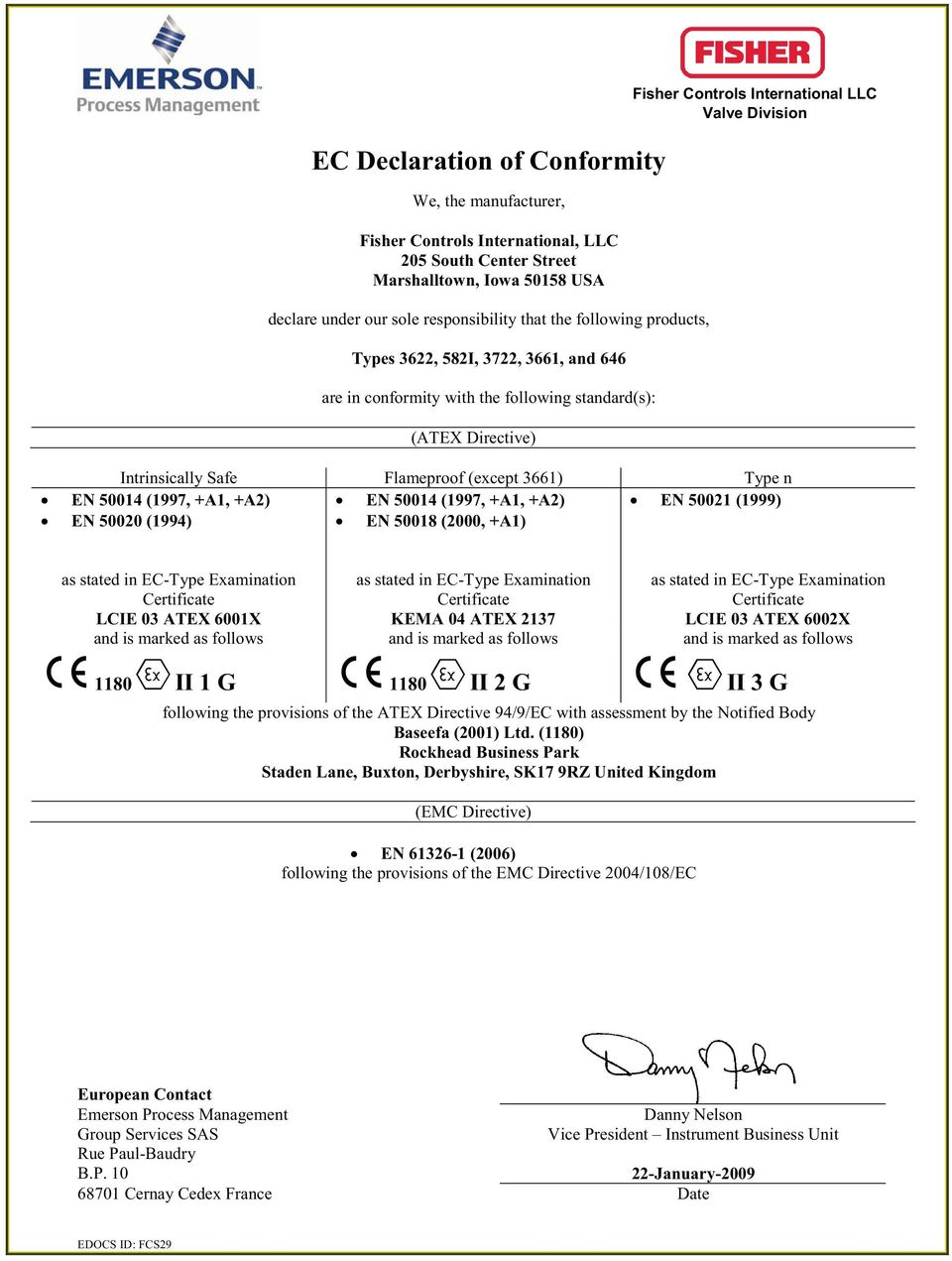 2137 LCIE 03 ATEX 6002X and is marked as follows and is marked as follows and is marked as follows 1180 II 1 G 1180 II 2 G II 3 G following the provisions of the ATEX Directive 94/9/EC with