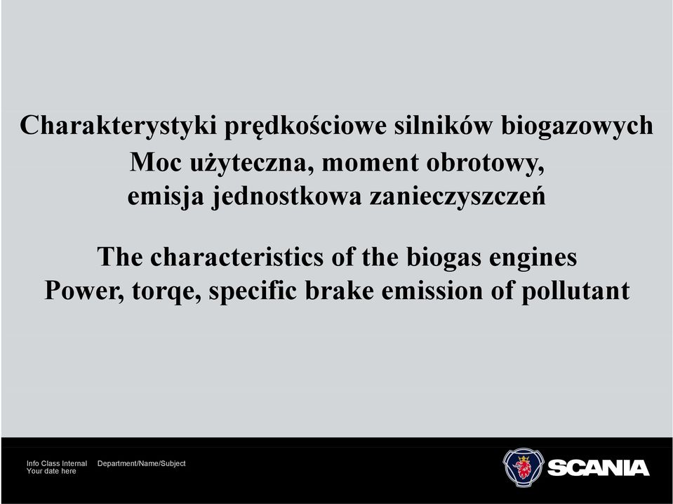 characteristics of the biogas engines Power, torqe, specific brake