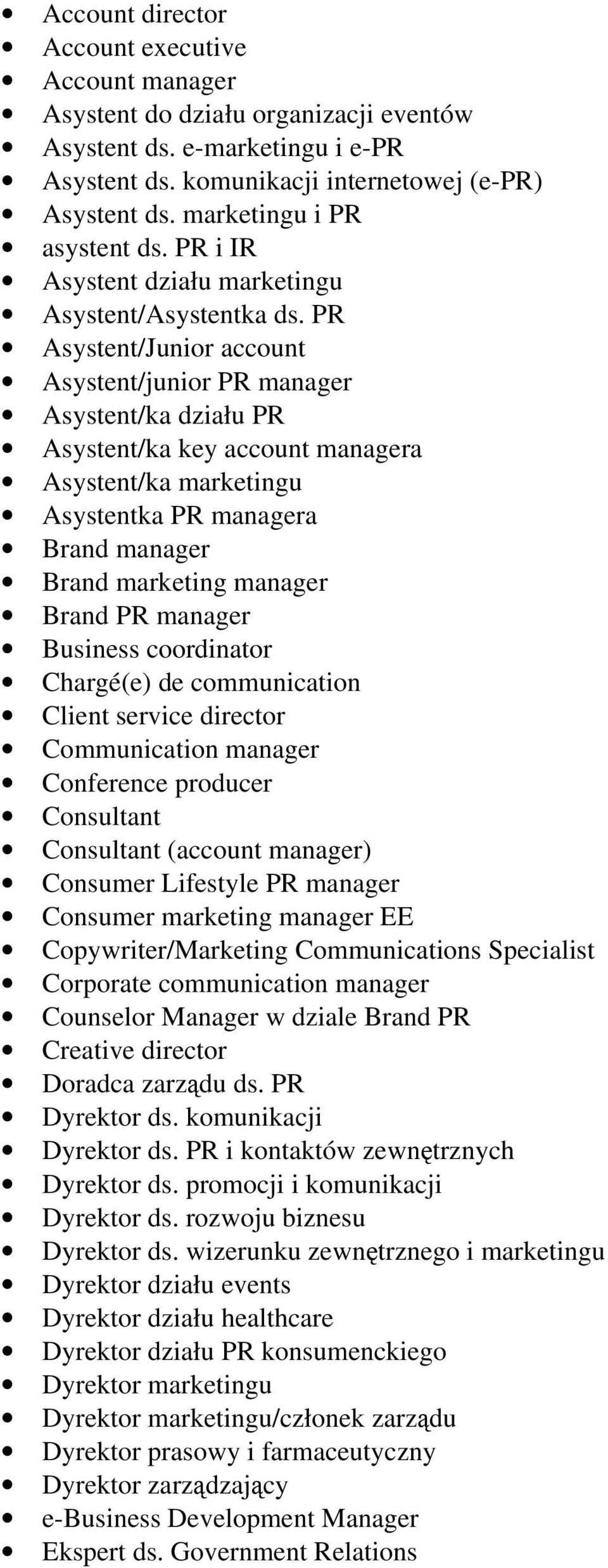PR Asystent/Junior account Asystent/junior PR manager Asystent/ka działu PR Asystent/ka key account managera Asystent/ka marketingu Asystentka PR managera Brand manager Brand marketing manager Brand
