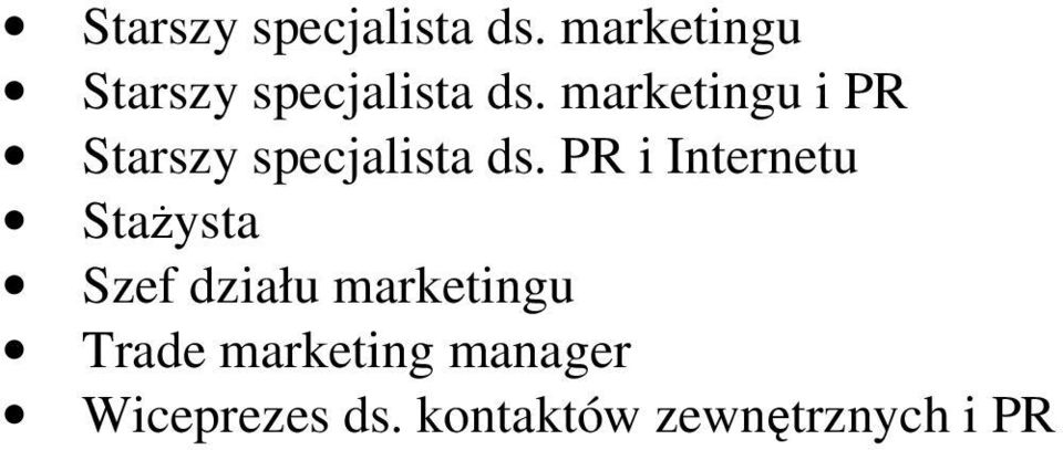 Szef działu marketingu Trade marketing manager