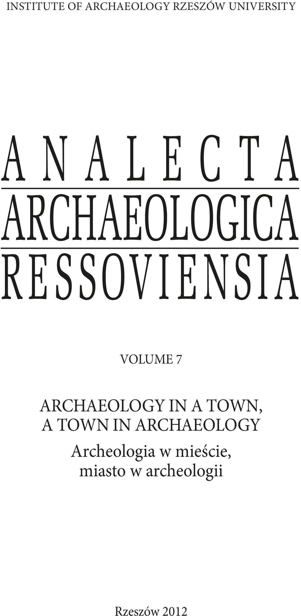 town, a town in archaeology