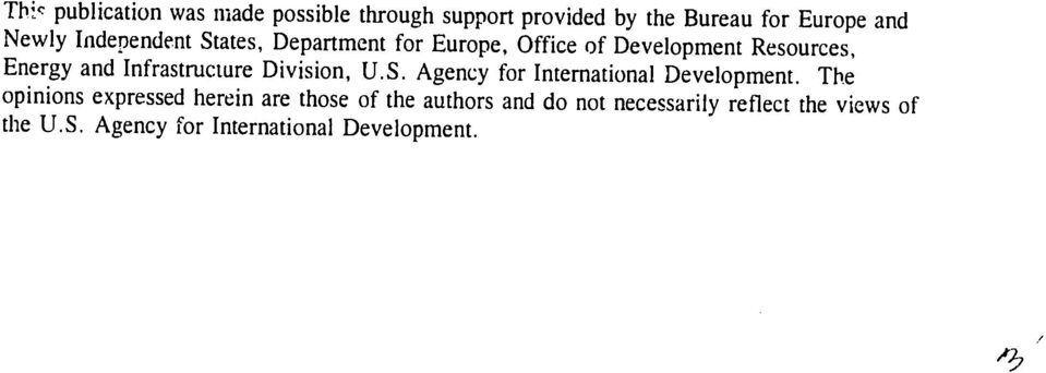 Infrastructure Division, U.S. Agency for International Development.
