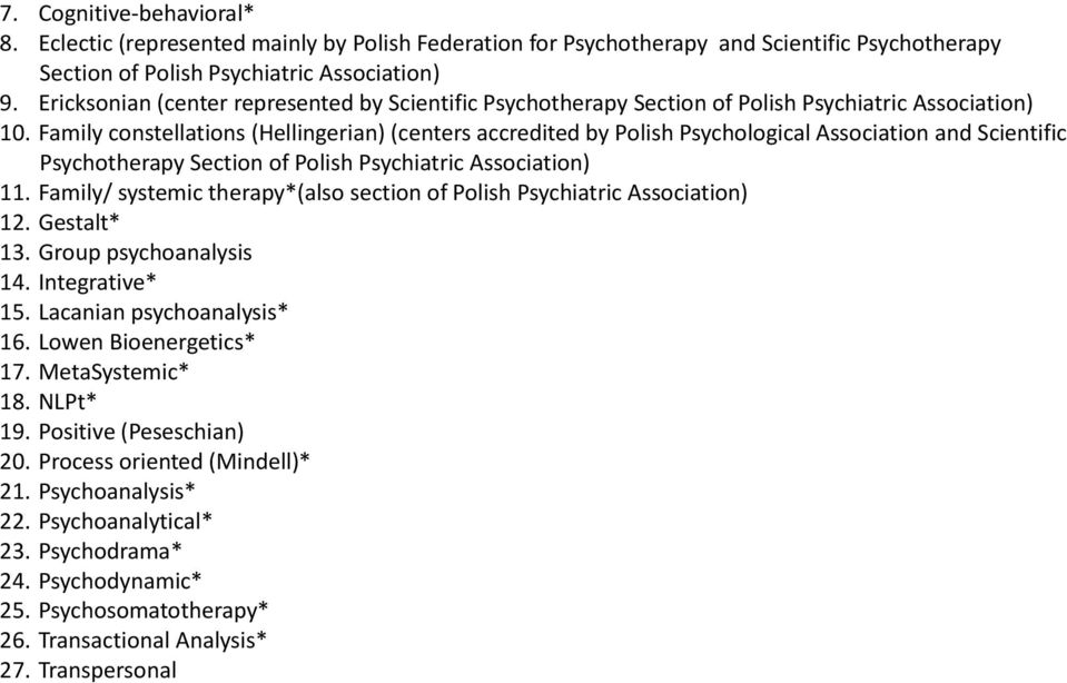 Family constellations (Hellingerian) (centers accredited by Polish Psychological Association and Scientific Psychotherapy Section of Polish Psychiatric Association) 11.