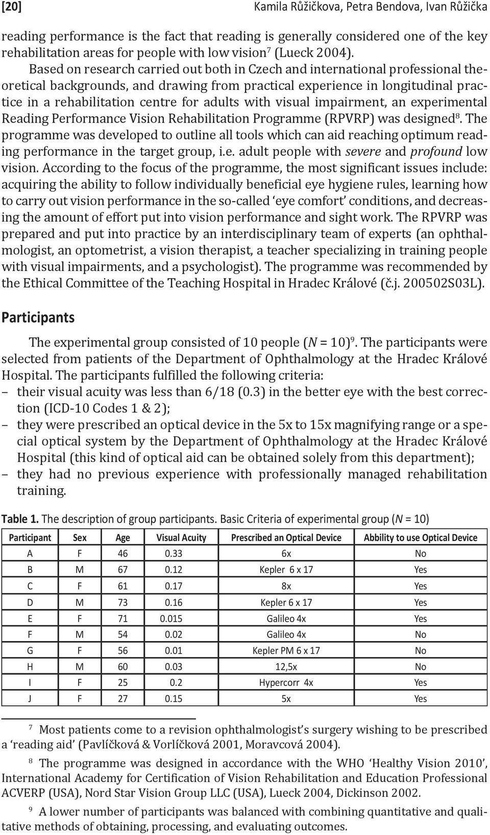 adults with visual impairment, an experimental Reading Performance Vision Rehabilitation Programme (RPVRP) was designed 8.