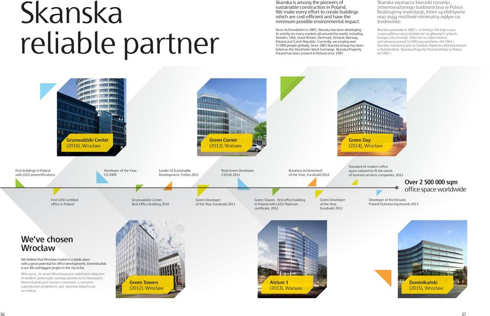 Since its foundation in 1887, Skanska has been developing its activity on many markets all around the world, including Sweden, USA, Great Britain, Denmark, Finland, Norway, Poland and Czech Republic.