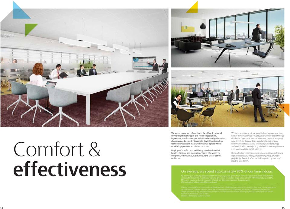 delivers success. Employees comfort and well-being translate into their health efficiency and motivation. That is why when we designed Dominikański, we made sure to create perfect ambience.