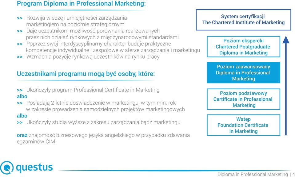 pozycję rynkową uczestników na rynku pracy System certyfikacji The Chartered Institute of Marketing Poziom ekspercki Chartered Postgraduate Diploma in Marketing Uczestnikami programu mogą być osoby,