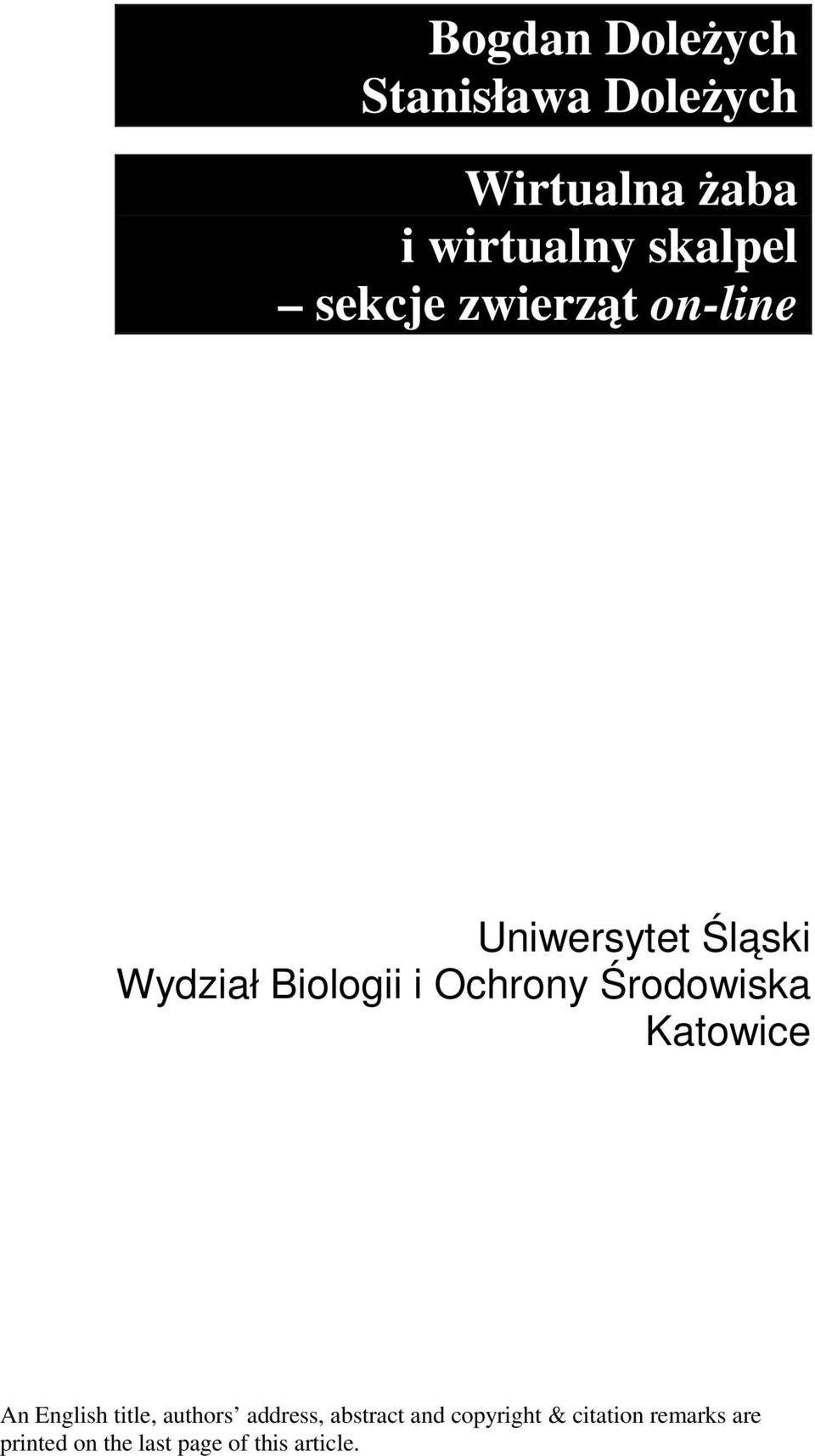 Środowiska Katowice An English title, authors address, abstract and