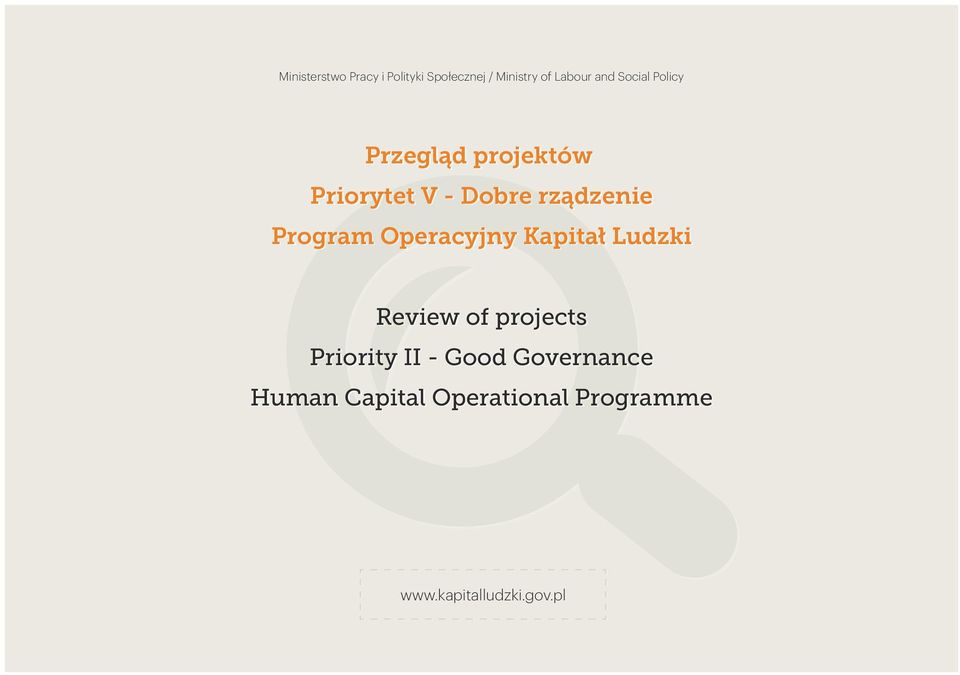 Program Operacyjny Kapitał Ludzki Review of projects Priority II -