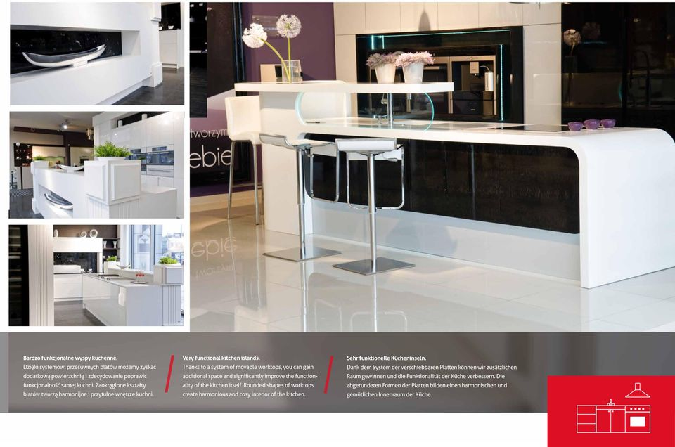 Thanks to a system of movable worktops, you can gain additional space and significantly improve the functionality of the kitchen itself.