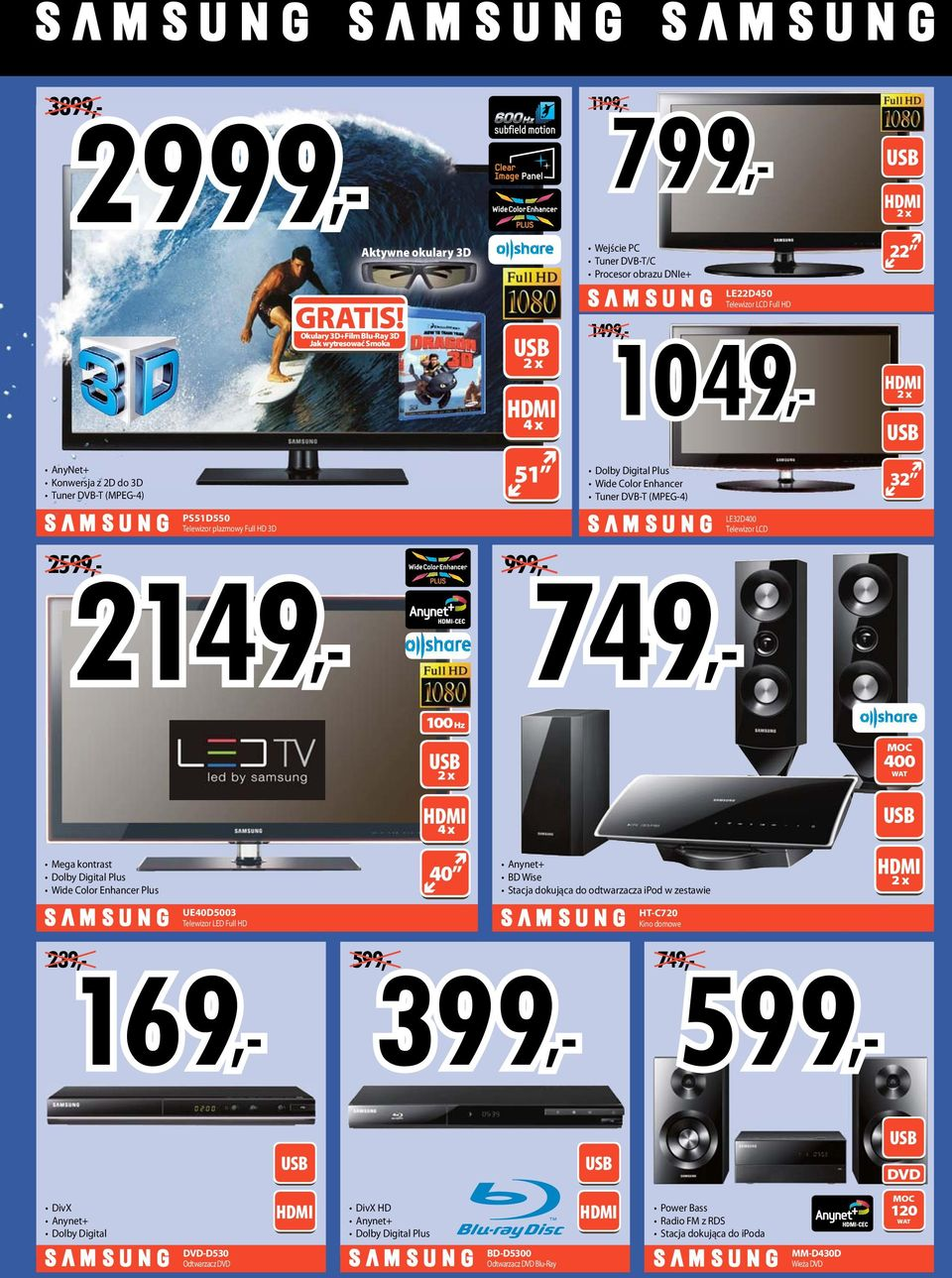 DVB-T (MPEG-4) 32 2599 999 749 LE32D400 Telewizor LCD 100 Hz 2 x 400 WT 4 x Mega kontrast Dolby Digital Plus Wide Color Enhancer Plus 40 nynet+ BD Wise Stacja dokująca do odtwarzacza ipod w zestawie