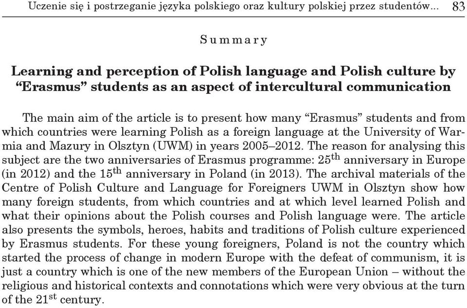 students and from which countries were learning Polish as a foreign language at the University of Warmia and Mazury in Olsztyn (UWM) in years 2005 2012.