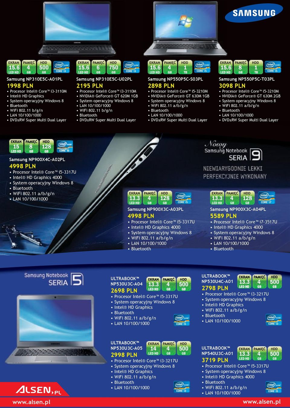 11 b/g/n LAN 10/100/1000 DVD±RW Super Multi Dual Layer 15 8 Procesor Intel Core i3-3110m NVIDIA GeForce GT 620M 1GB LAN 10/100/1000 WiFi 802.