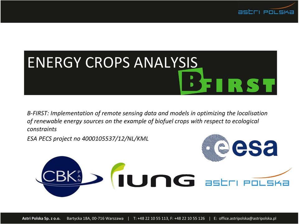 renewable energy sources on the example of biofuelcrops with