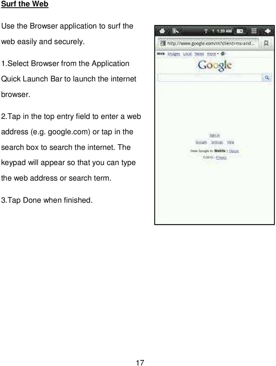Tap in the top entry field to enter a web address (e.g. google.