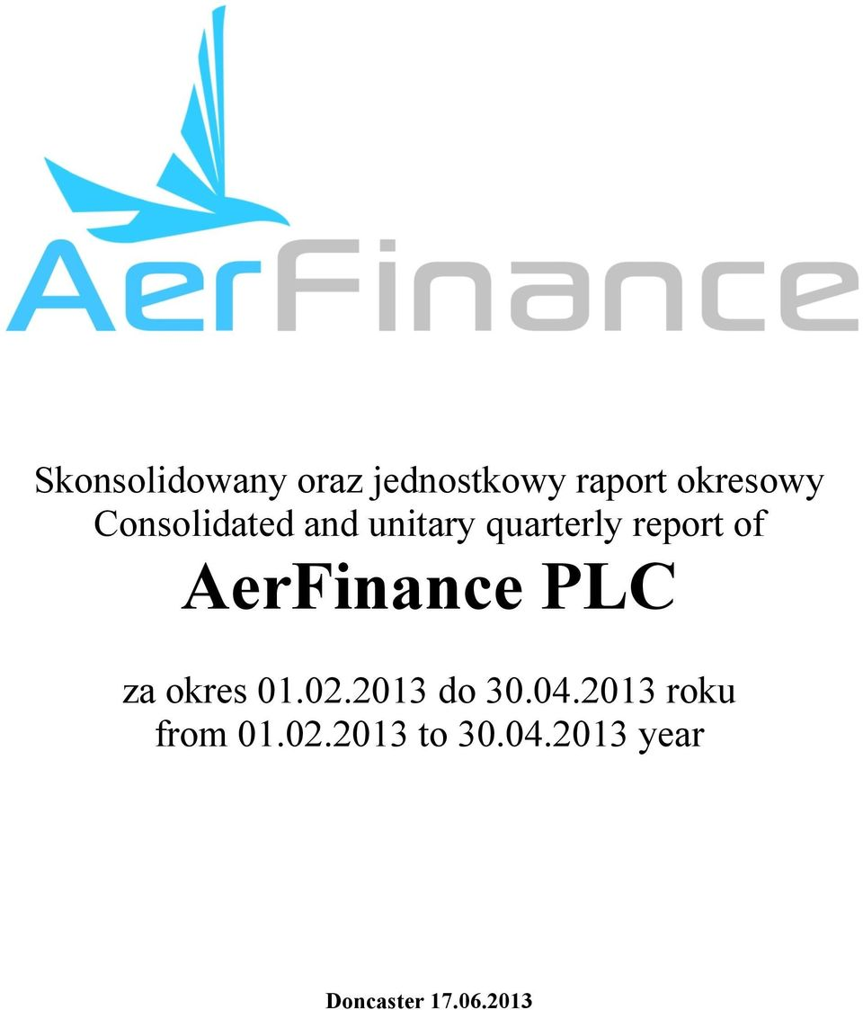 report of AerFinance PLC za okres 01.02.