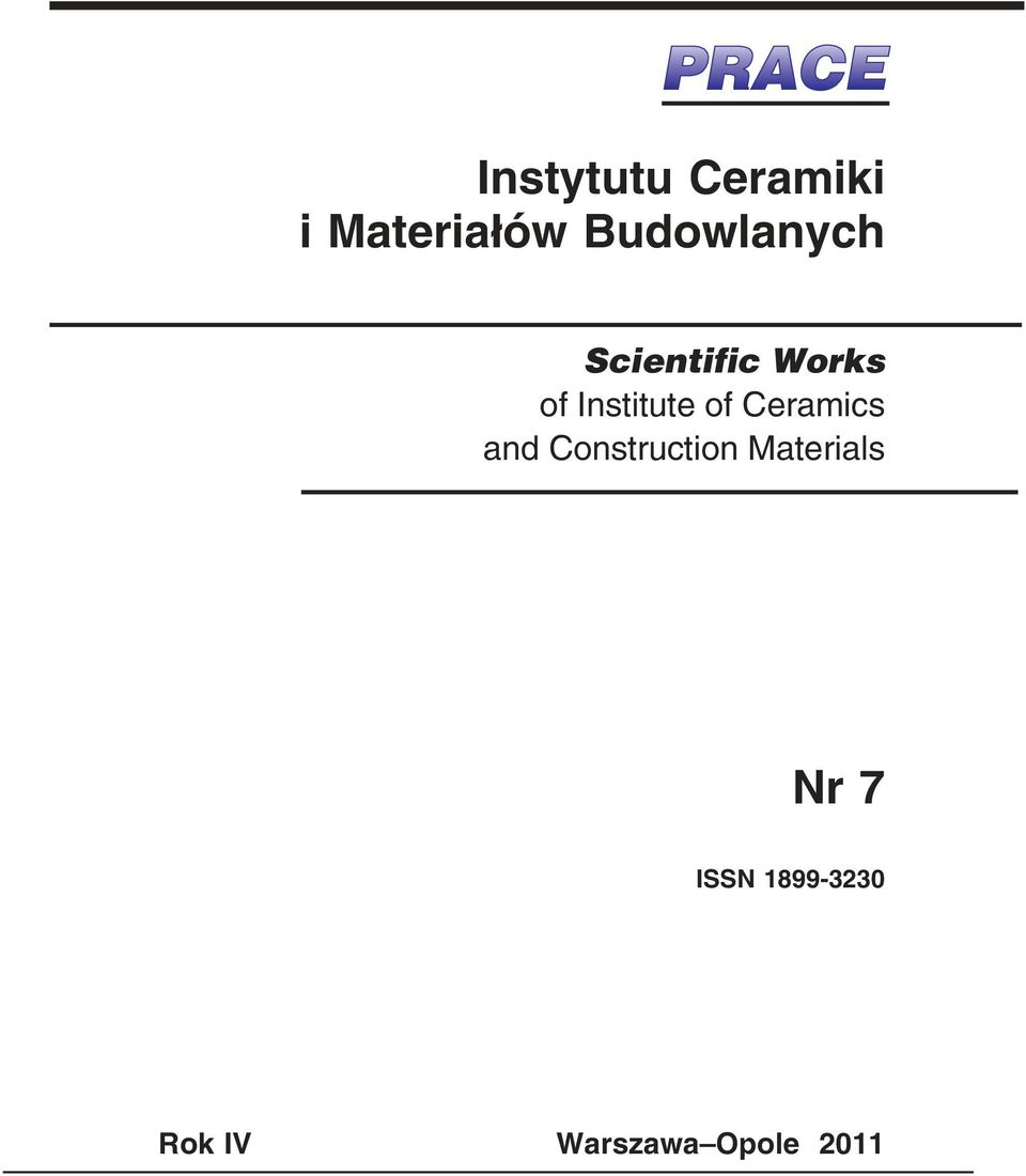 of Ceramis and Constrution Materials Nr