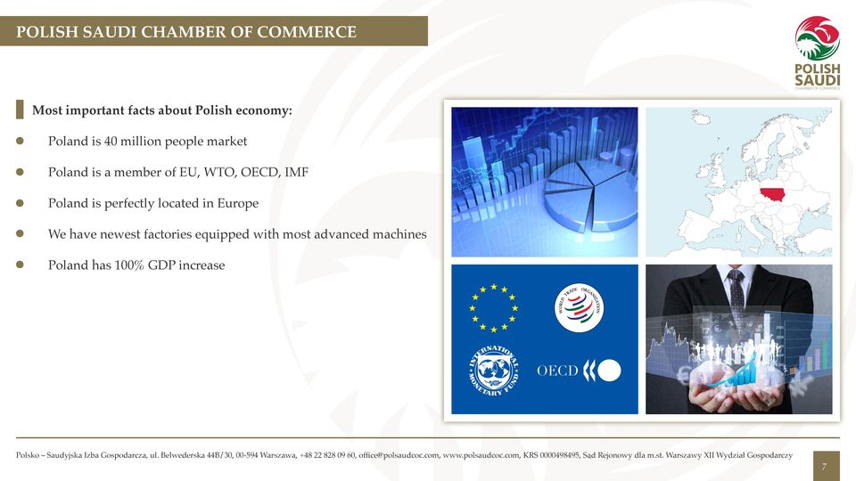 WTO, OECD, IMF Poland is perfectly located in Europe We have newest