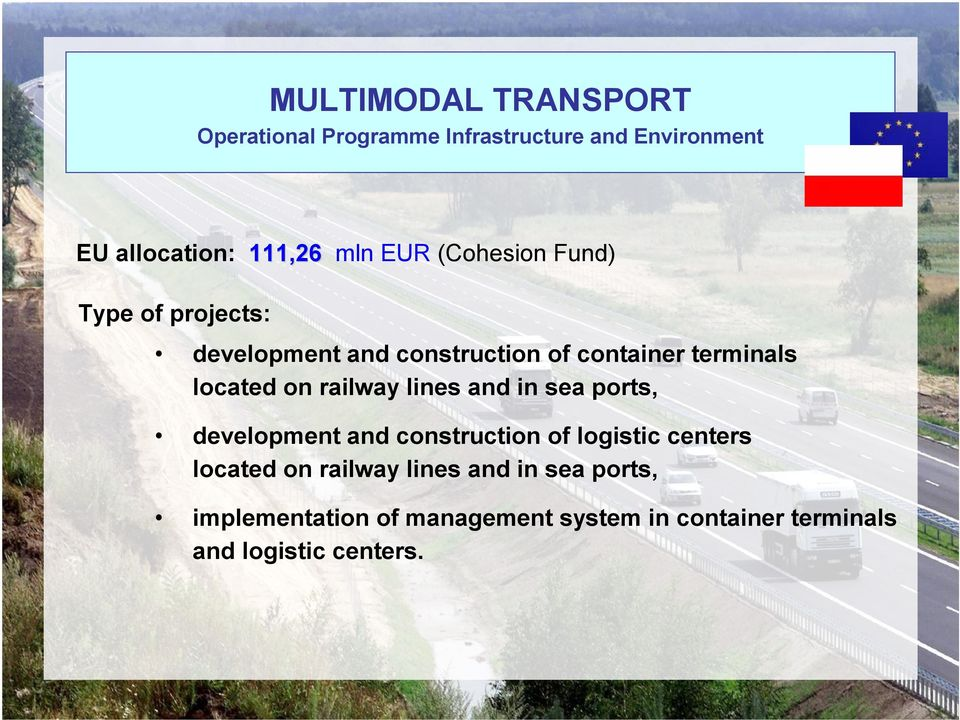 ports, development and construction of logistic centers located on railwaylines and in