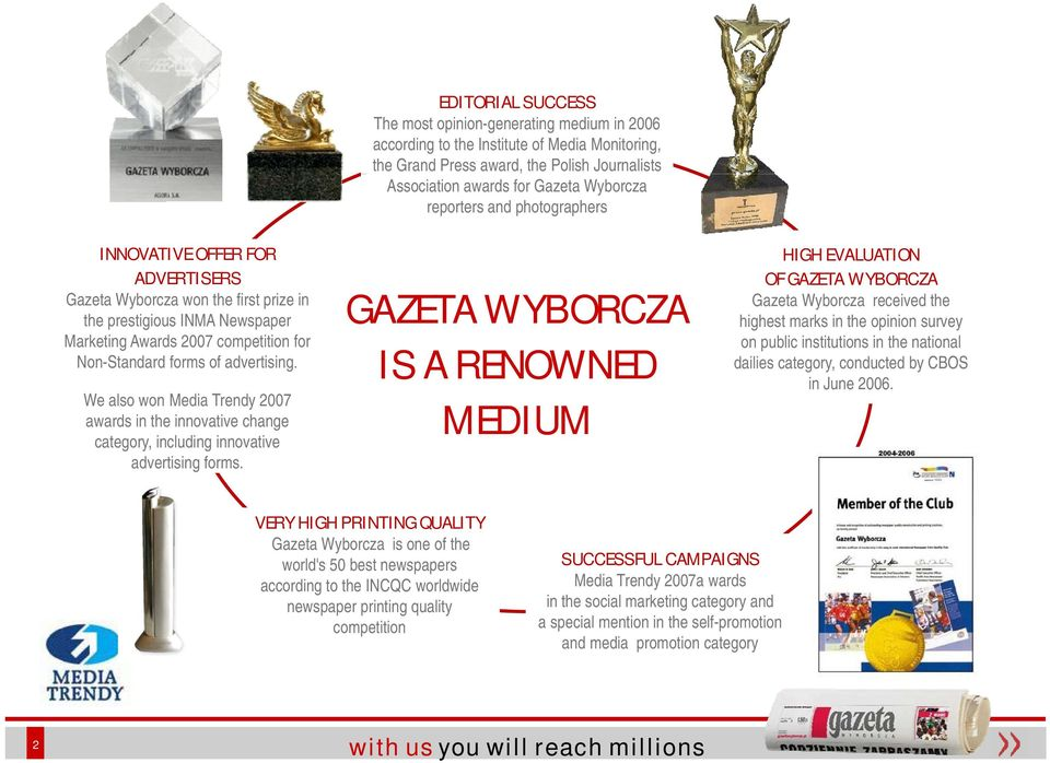 EDITORIAL SUCCESS The most opinion-generating medium in 2006 according to the Institute of Media Monitoring, the Grand Press award, the Polish Journalists Association awards for Gazeta Wyborcza