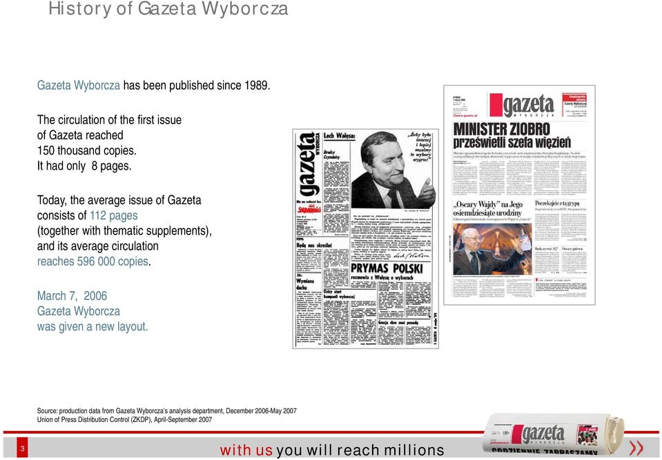 Today, the average issue of Gazeta consists it of 112 pages (together with thematic supplements), and its average circulation