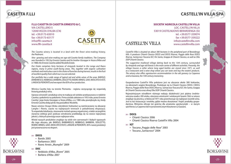 com www.castellinvilla.com -25- -24- The Casetta winery is located in a land with the finest wine-making history, the Piedmont. Vine -growing and wine-making are age-old Casetta family traditions.