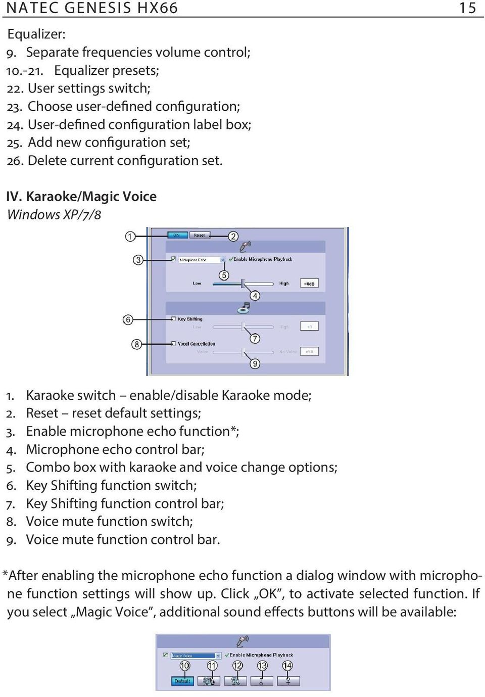 Reset reset default settings; 3. Enable microphone echo function*; 4. Microphone echo control bar; 5. Combo box with karaoke and voice change options; 6. Key Shifting function switch; 7.
