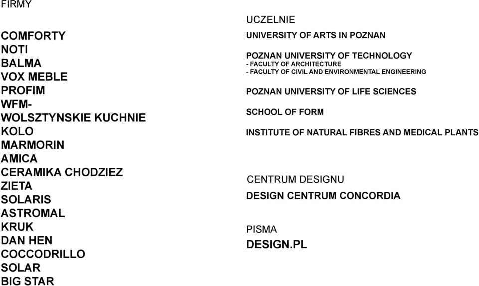 TECHNOLOGY - FACULTY OF ARCHITECTURE - FACULTY OF CIVIL AND ENVIRONMENTAL ENGINEERING POZNAN UNIVERSITY OF LIFE