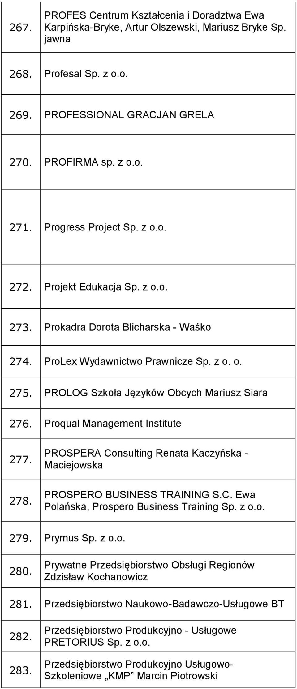 Proqual Management Institute 277. 278. PROSPERA Consulting Renata Kaczyńska - Maciejowska PROSPERO BUSINESS TRAINING S.C. Ewa Polańska, Prospero Business Training Sp. z o.o. 279. Prymus Sp. z o.o. 280.