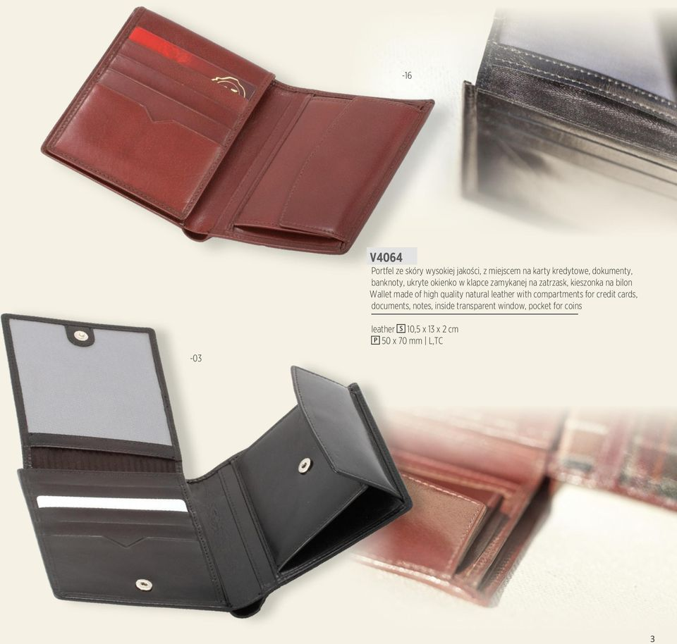 of high quality natural leather with compartments for credit cards, documents, notes,