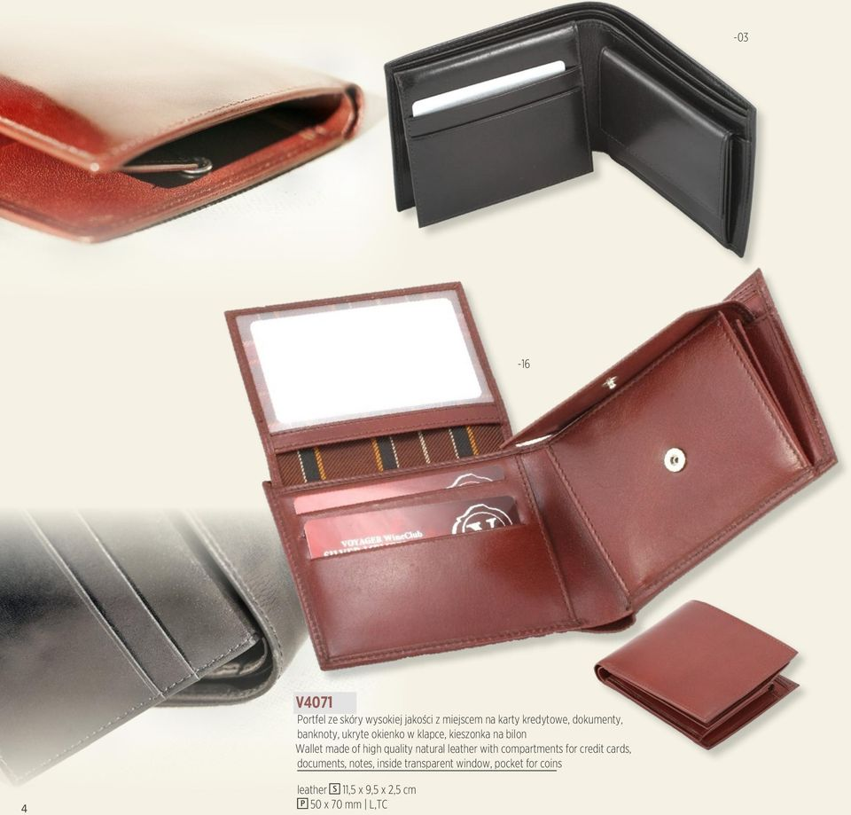 high quality natural leather with compartments for credit cards, documents, notes,