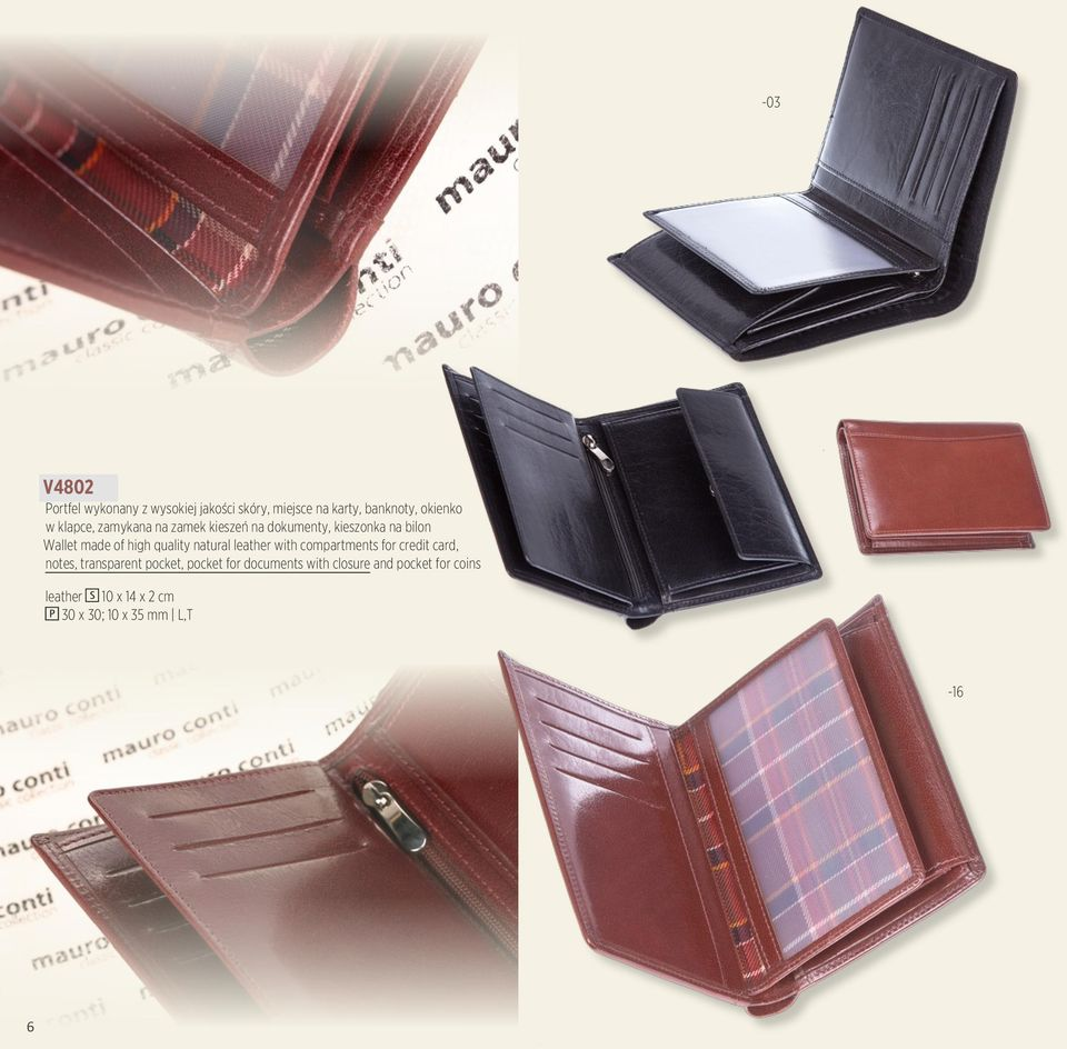 quality natural leather with compartments for credit card, notes, transparent pocket, pocket