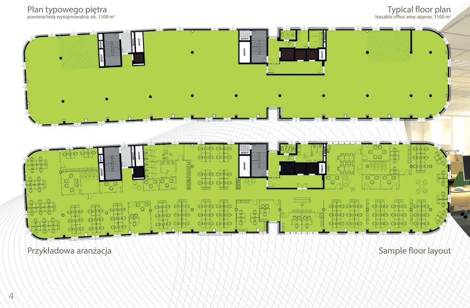 1100 m 2 Typical floor plan leasable office