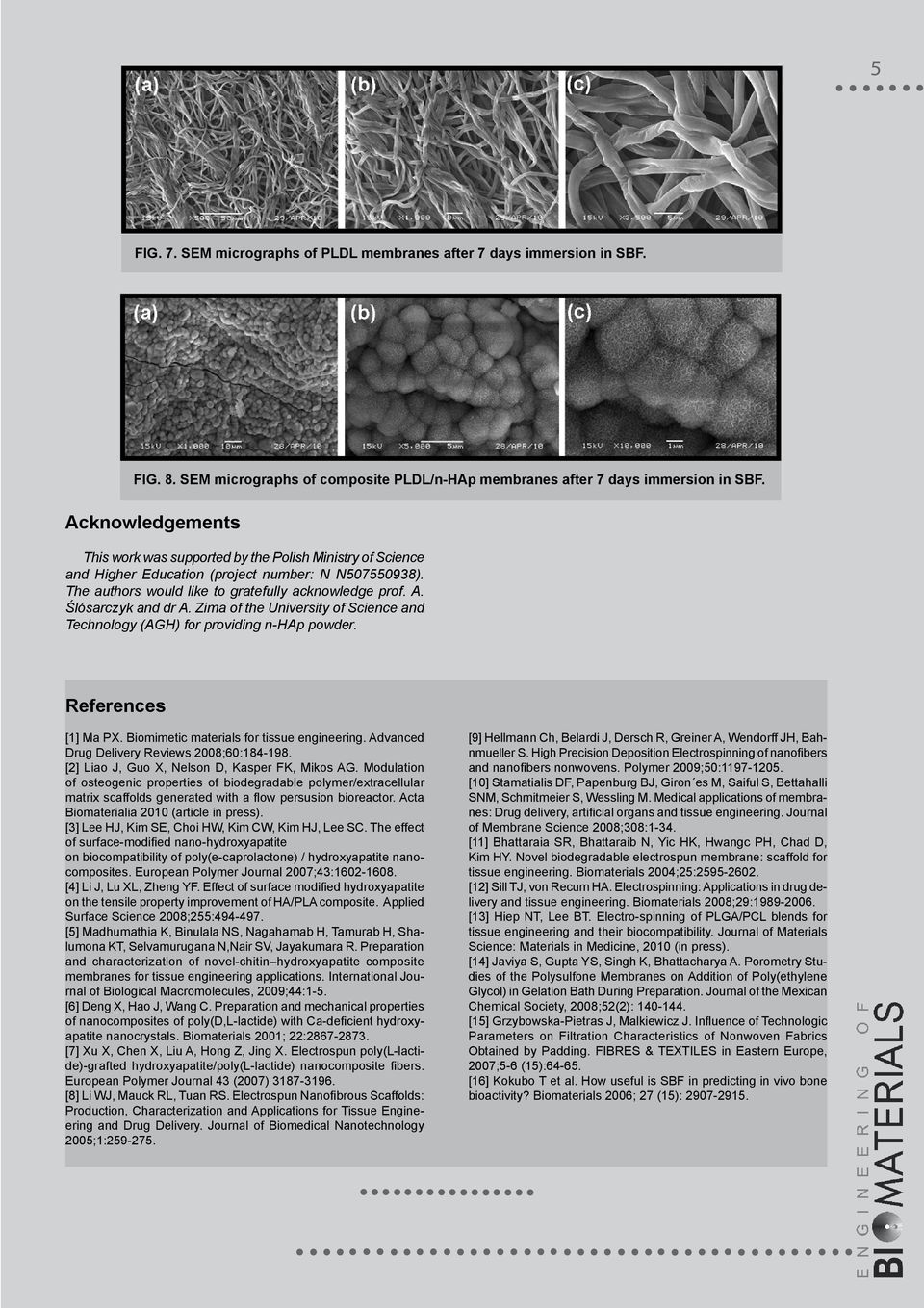 Ślósarczyk and dr A. Zima of the University of Science and Technology (AGH) for providing n-hap powder. References [1] Ma PX. Biomimetic materials for tissue engineering.