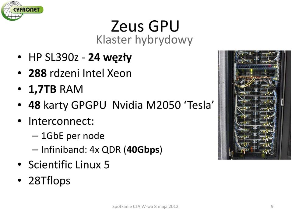 Nvidia M2050 Tesla Interconnect: 1GbE per node