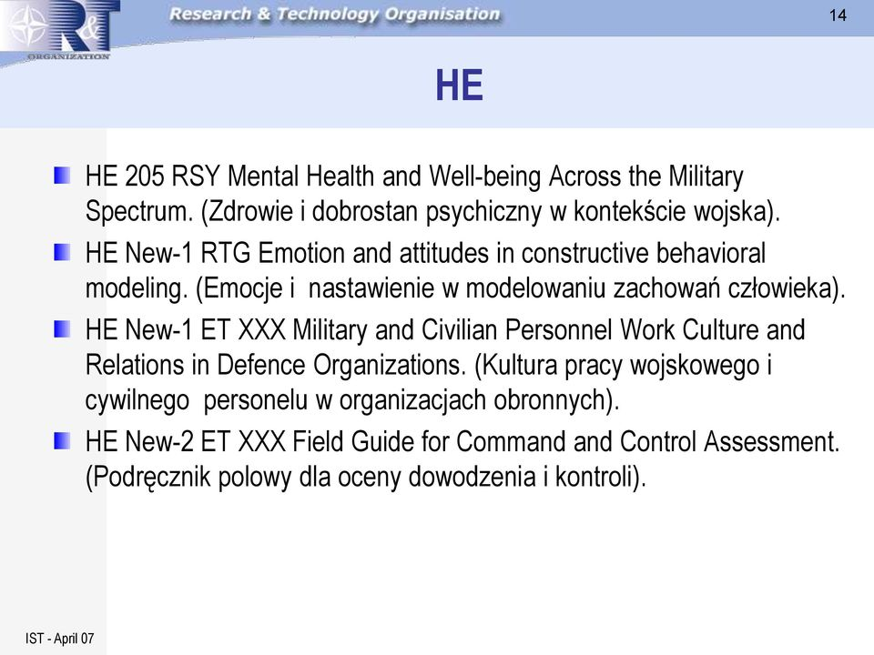 HE New-1 ET XXX Military and Civilian Personnel Work Culture and Relations in Defence Organizations.