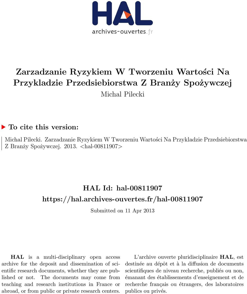 fr/hal-00811907 Submitted on 11 Apr 2013 HAL is a multi-disciplinary open access archive for the deposit and dissemination of scientific research documents, whether they are published or not.