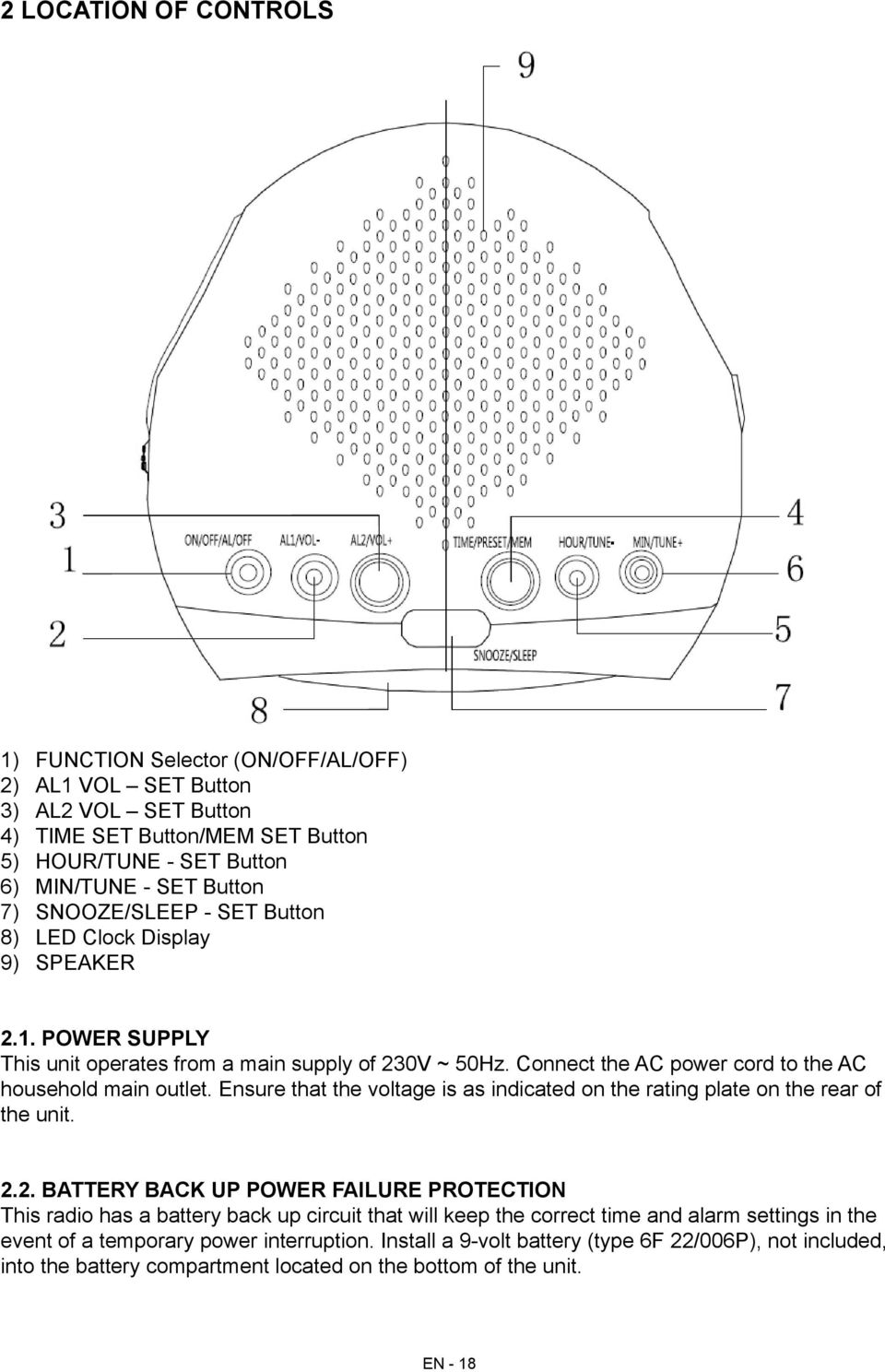 Ensure that the voltage is as indicated on the rating plate on the rear of the unit. 2.