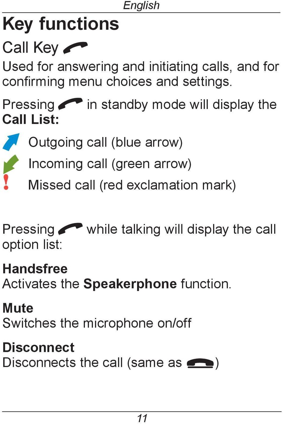 Pressing q in standby mode will display the Call List: Outgoing call (blue arrow) Incoming call (green arrow)!