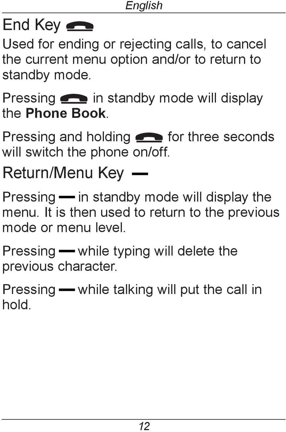 Pressing and holding L for three seconds will switch the phone on/off.