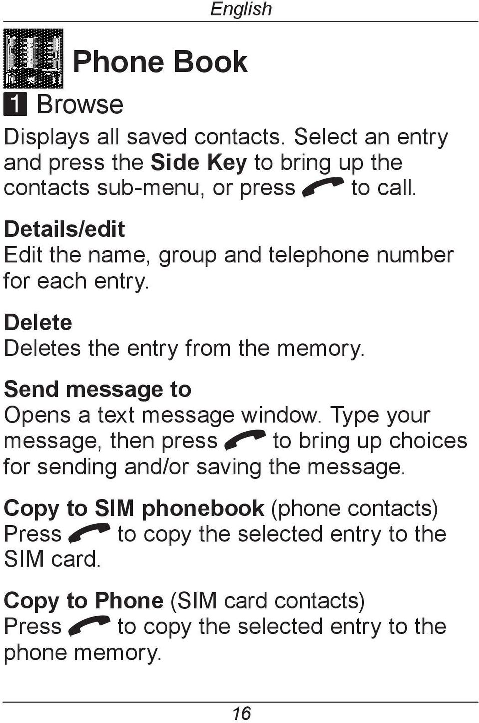 Details/edit Edit the name, group and telephone number for each entry. Delete Deletes the entry from the memory.
