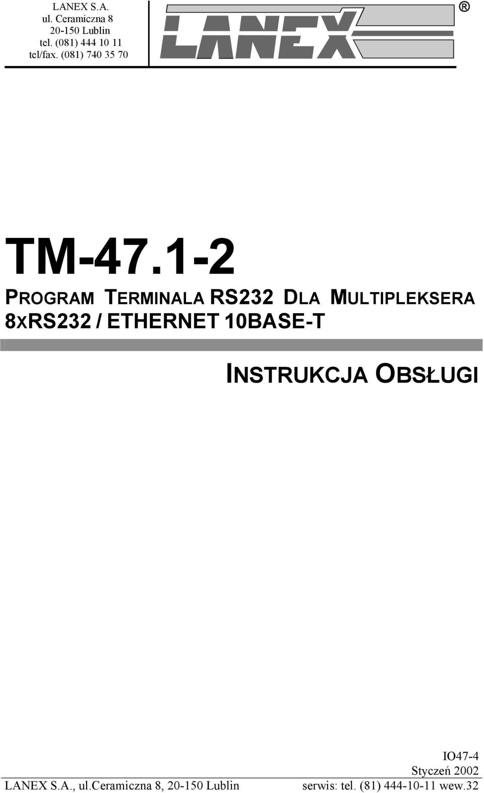 1-2 PROGRAM TERMINALA RS232 DLA MULTIPLEKSERA 8XRS232 / ETHERNET