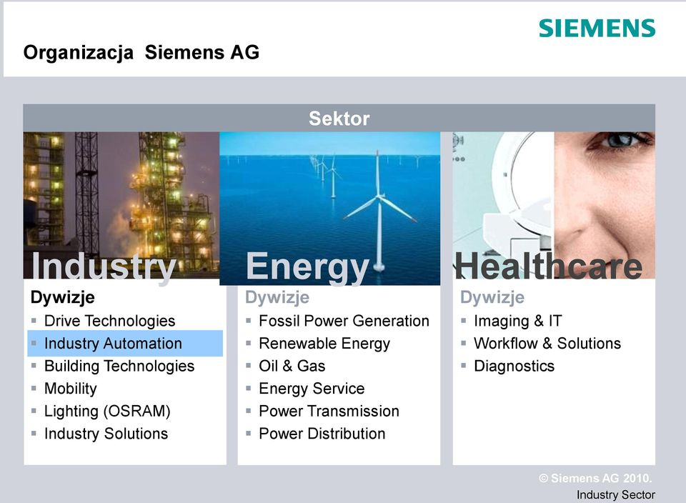 Energy Dywizje Fossil Power Generation Renewable Energy Oil & Gas Energy Service