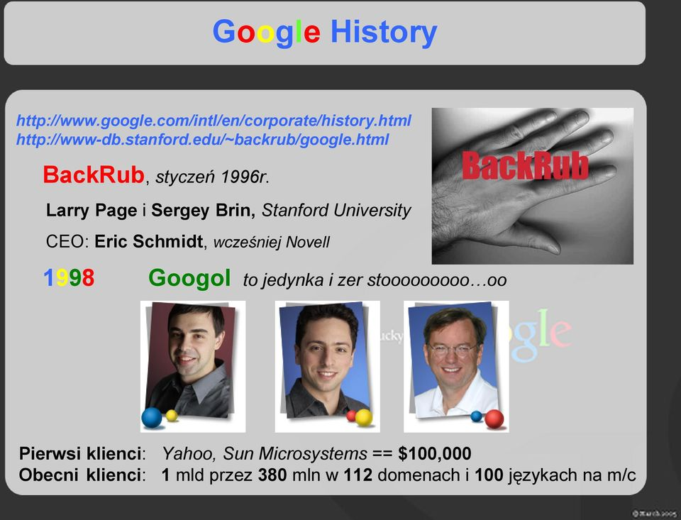 Larry Page i Sergey Brin, Stanford University CEO: Eric Schmidt, wcześniej Novell 1998 Googol to