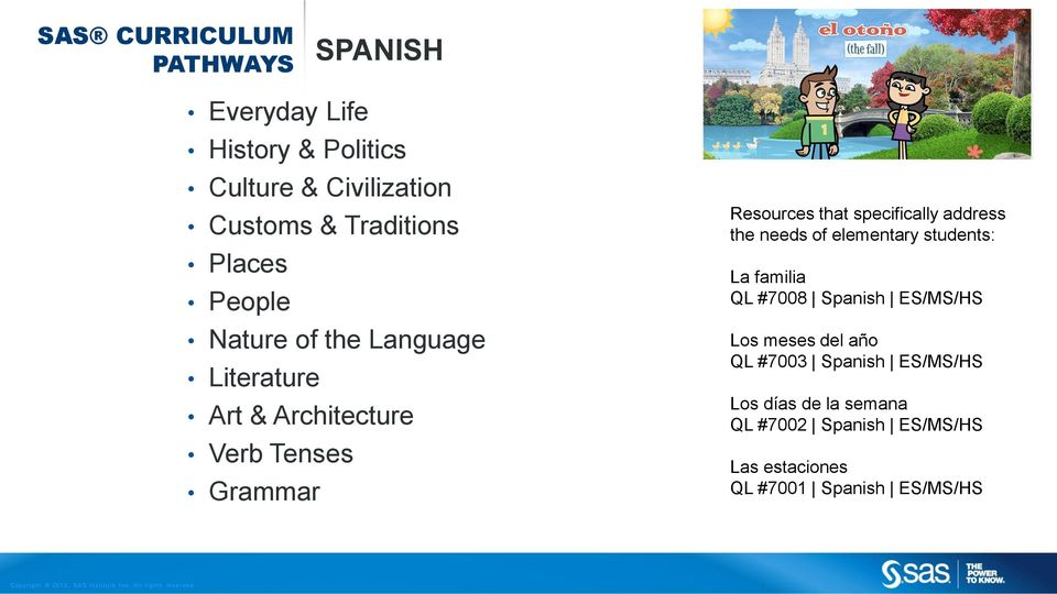 specifically address the needs of elementary students: La familia QL #7008 Spanish ES/MS/HS Los meses