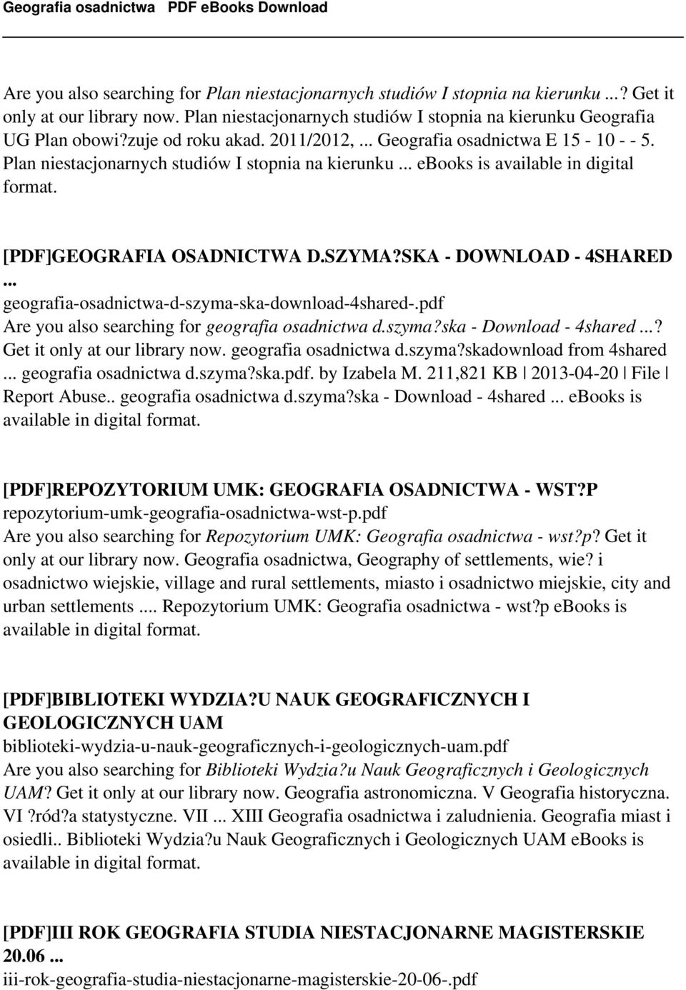 SKA - DOWNLOAD - 4SHARED... geografia-osadnictwa-d-szyma-ska-download-4shared-.pdf Are you also searching for geografia osadnictwa d.szyma?ska - Download - 4shared...? Get it only at our library now.
