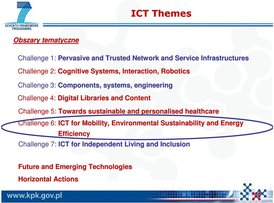 Content Challenge 5: Towards sustainable and personalised healthcare Challenge 6: ICT for Mobility, Environmental