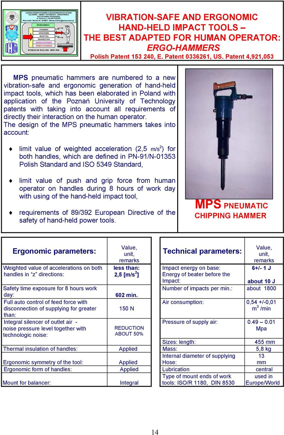 1994 MWD 1996 VIBRATION-SAFE AND ERGONOMIC HAND-HELD IMPACT TOOLS THE BEST ADAPTED FOR HUMAN OPERATOR: ERGO-HAMMERS Polish Patent 153 240, E. Patent 0336261, US.